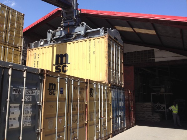 Container being loaded from inland container terminal