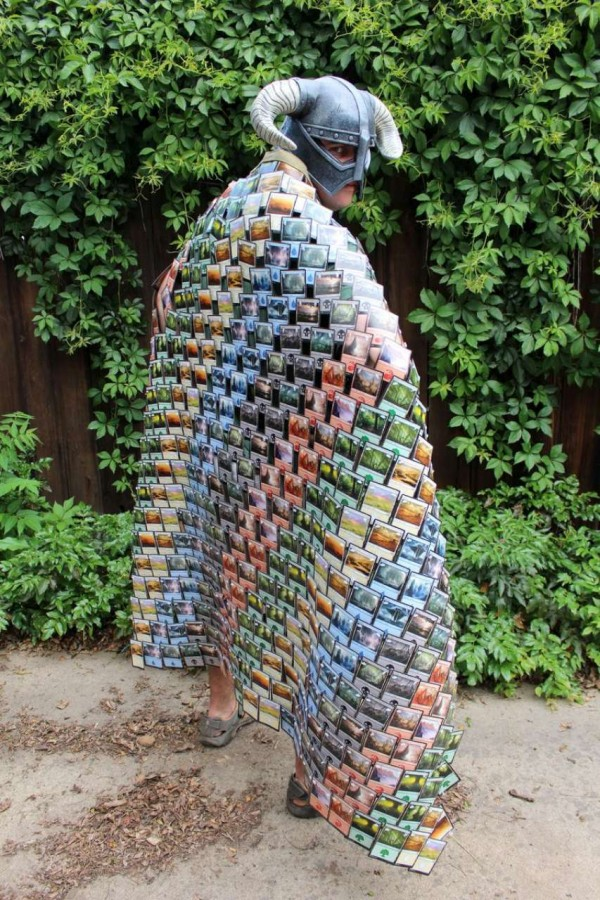 A cape made entirely of Magic the Gathering cards.